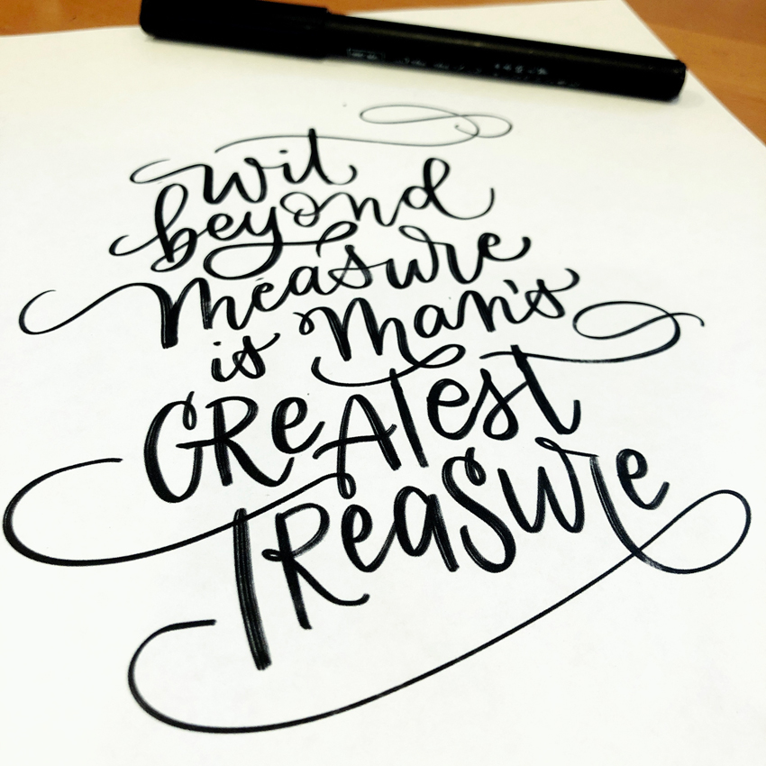 Hand lettered custom quote calligraphy